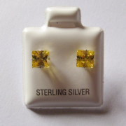 5mm square Princess cut Citrine Cubic Zirconia Sterling silver Stud earrings